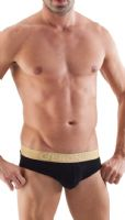 Geronimo Mens Underwear Stylish Black Brief Soft Cotton Slip Gold Waist 1362s2